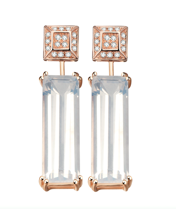 Hestia Diamond Stud and Sunflower Quartz Gem Bar Earrings