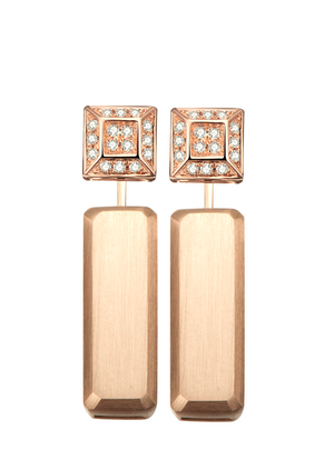 Hestia Diamond Stud and Rose Gold Bar Earrings