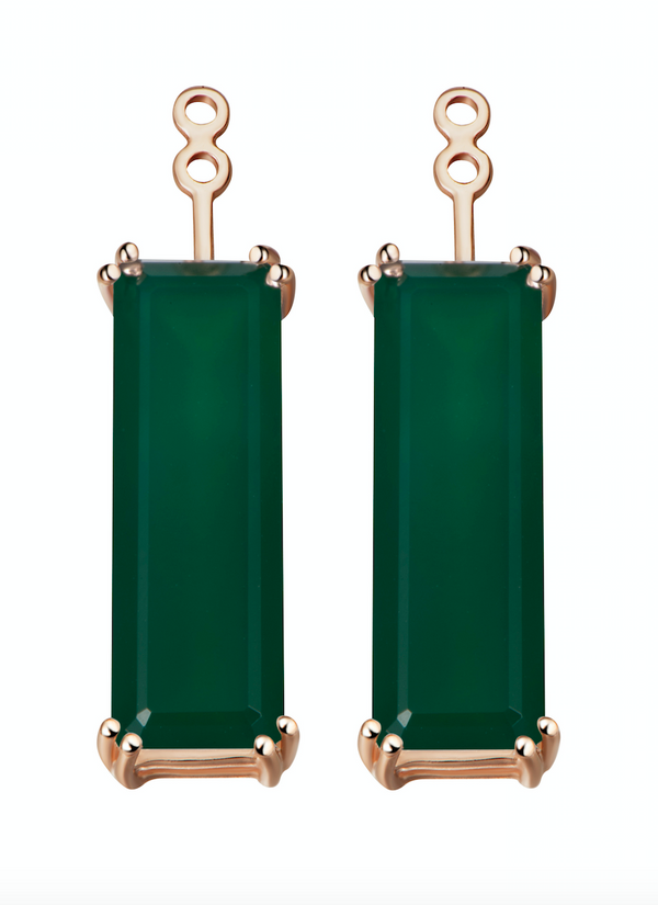 Hestia Green Agate Gem Bar Earring Extenders