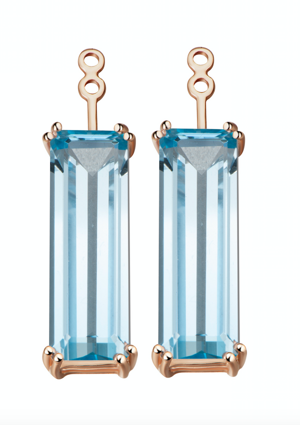 Marilyn Swiss Blue Topaz Earrings Extenders
