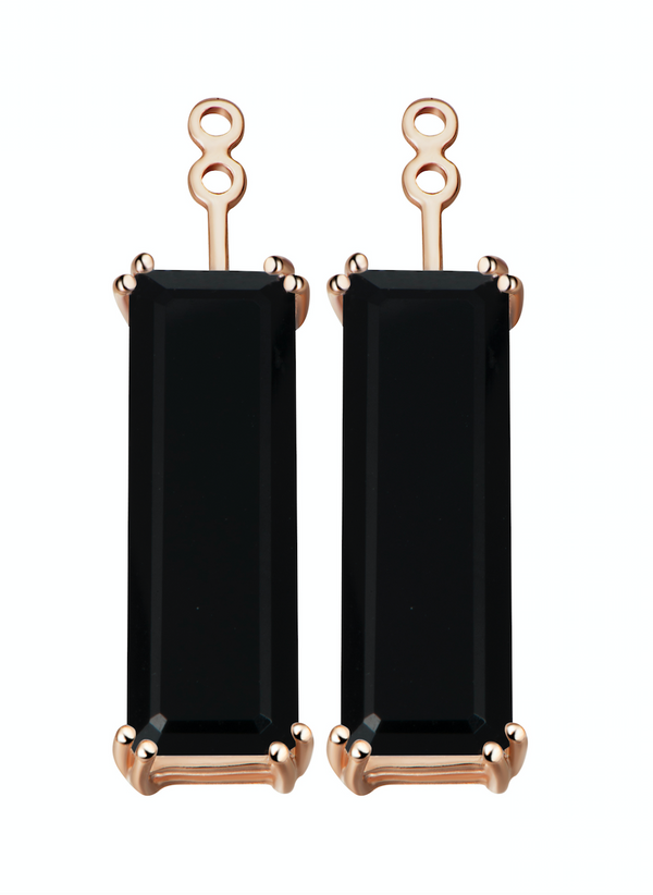 Hestia Black Onyx Gem Bar Earrings