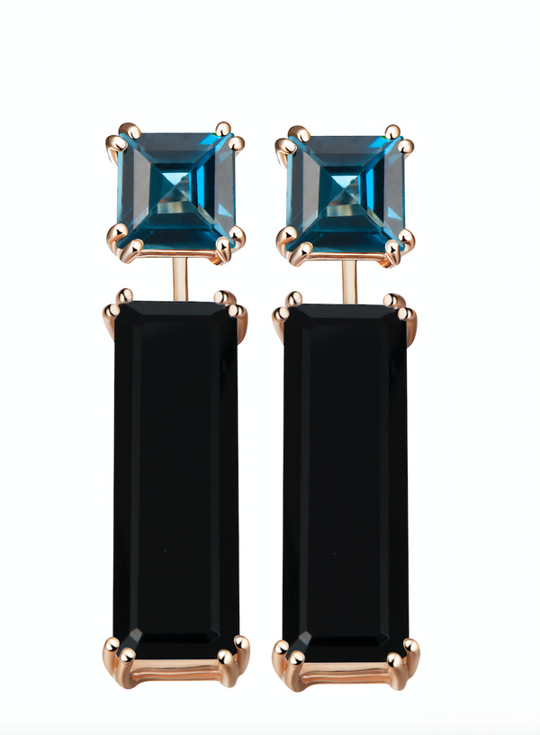 Sophia London Blue Topaz Earrings + Marilyn Onyx Earring Extenders