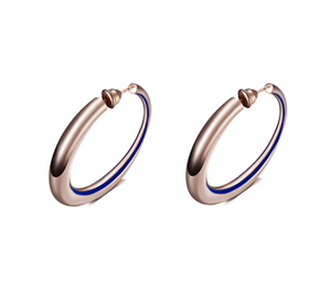 Curve Hoop Earrings with Blue Enamelling