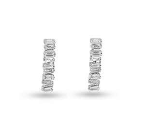 Love Diamond Long Bar Earrings - White Gold