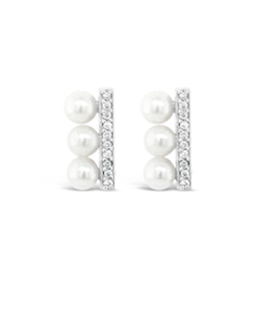 Unique Pearl Diamond Bar Earrings