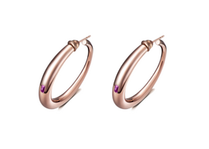 Curve Hoop Earrings with Purple Amethyst