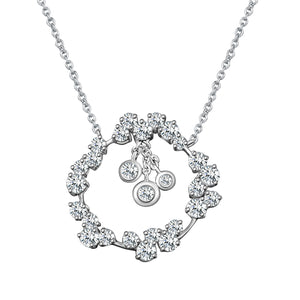 Corolla Diamond Pendant Necklace - White Gold