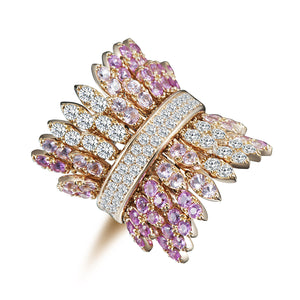 Spettinato Two Row Kinetic Ring - Diamonds and Pink Sapphires