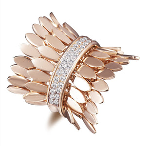 Spettinato Two Row Kinetic Diamond Ring - Rose Gold
