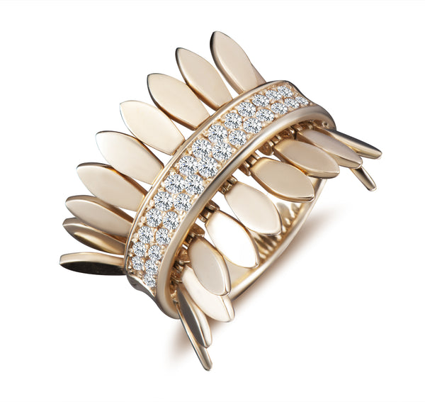 Spettinato One Row Kinetic Diamond Ring - Gold