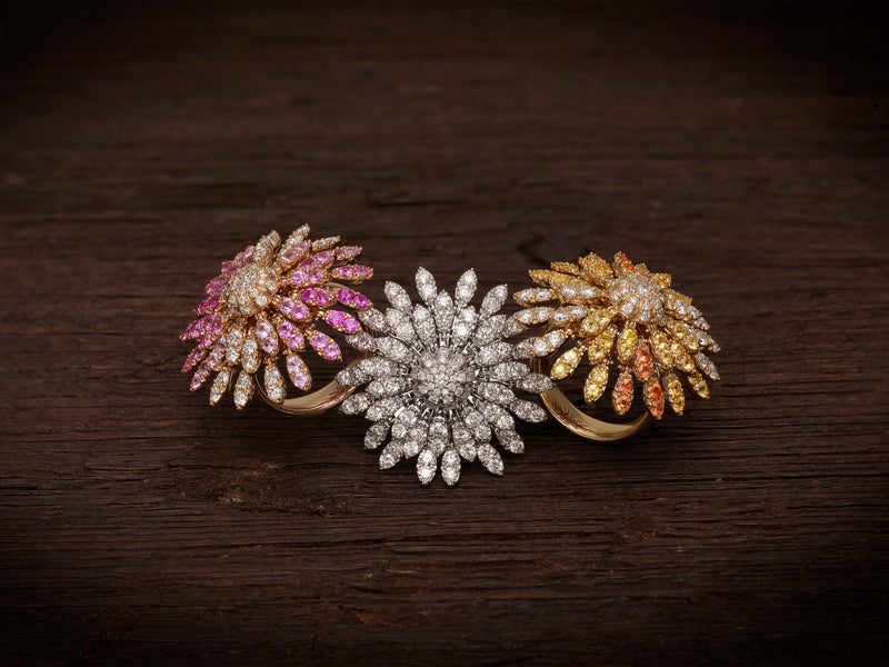 Sole Sunflower Kinetic Ring - Diamonds and Pink Sapphires