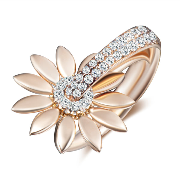 Sunflower Kinetic Diamond Ring - Gold
