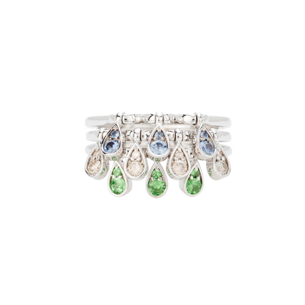 Charleston Trio Drops Ring - Sapphires, Emeralds and Diamonds