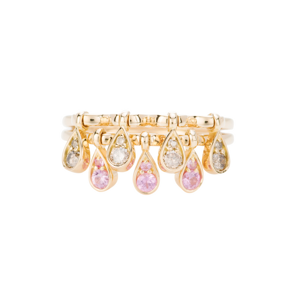 Charleston Doublet Sapphire Drops Ring - Champagne Diamonds and Pink Sapphires