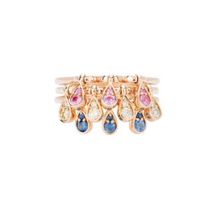 Charleston Trio Drop Ring - Sapphires and Diamonds