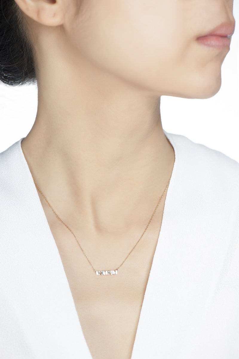 Love Diamond Small Bar Necklace - Rose Gold