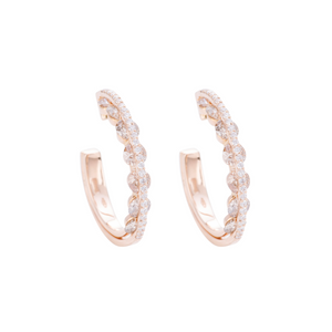 Light Collection Hoop Earrings - White and Champagne Diamonds