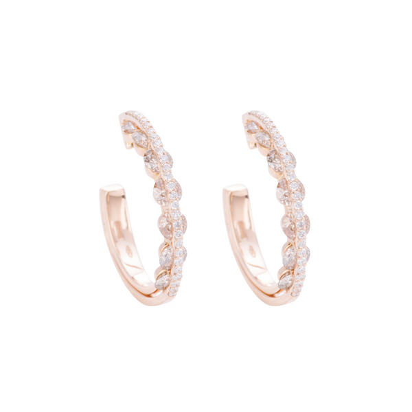Light Diamond Hoop Earrings - White and Champagne Diamonds