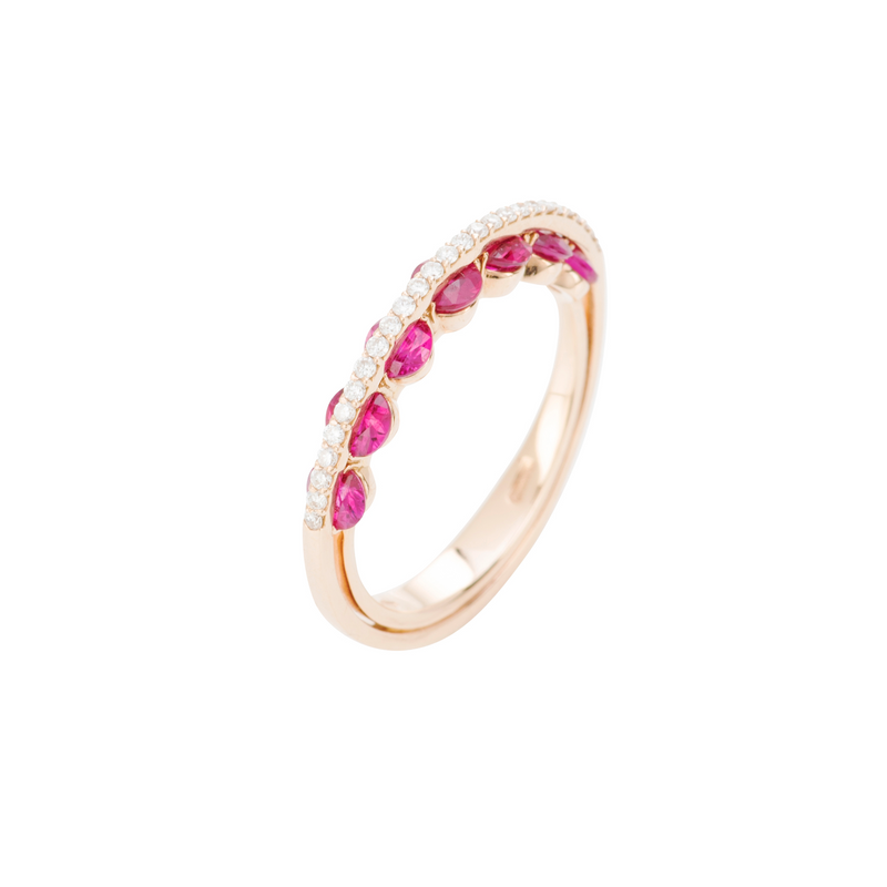 Light Ruby Ring - Diamonds and Rubies