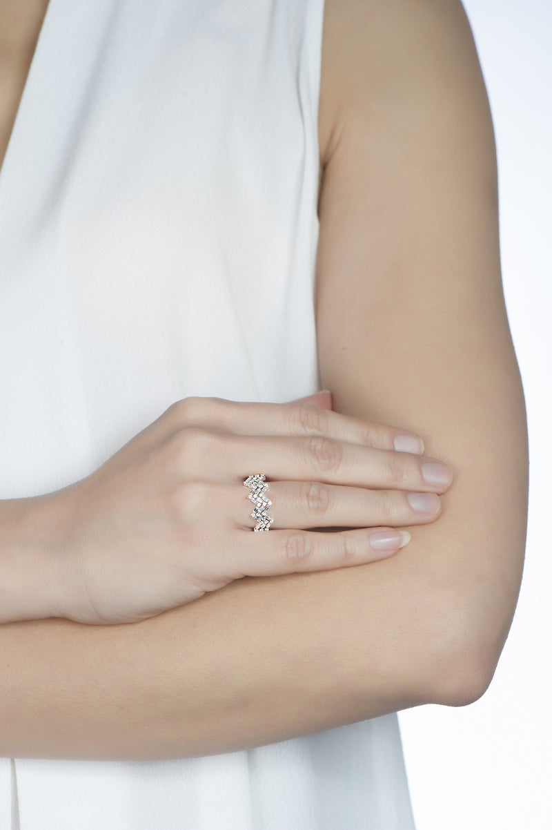 Happiness Baguette Stack Ring - Diamonds