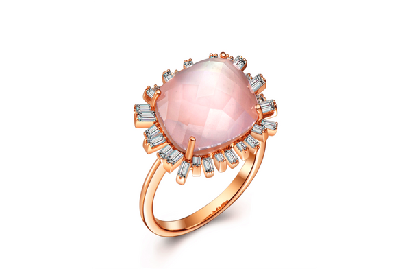 Romance Diamond Ring - Pink Quartz