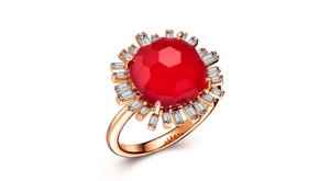Romance Diamond Ring - Red Garnet