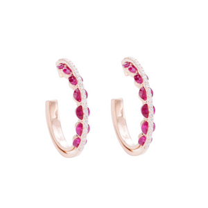 Light Collection Hoop Earrings - Diamonds and Rubies