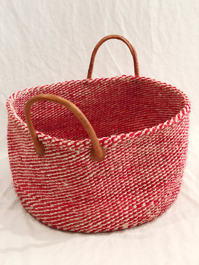 Large Low Basket with Leather Handles