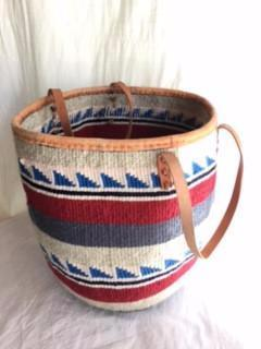 Large Basket with Leather Trim