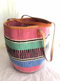Large Basket with Leather Trim - Pink