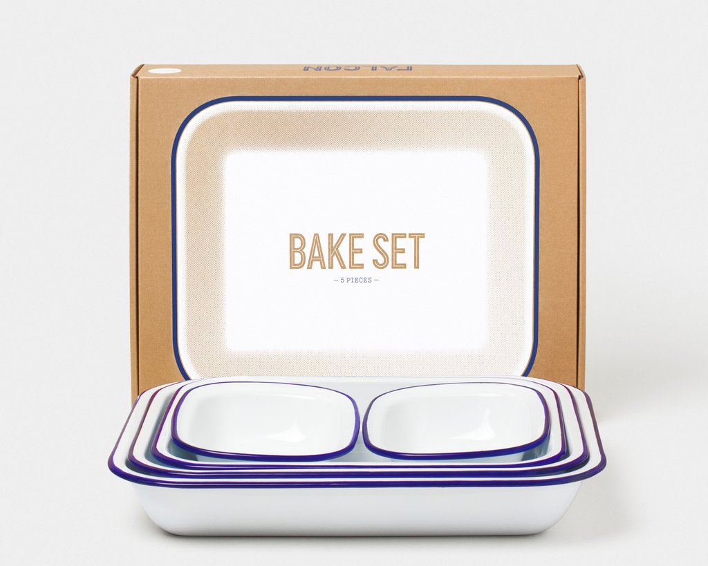 Falcon 5 Piece Bakeware Set White With Blue Rim