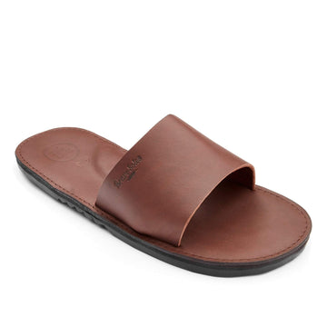 men's leather slide sandal