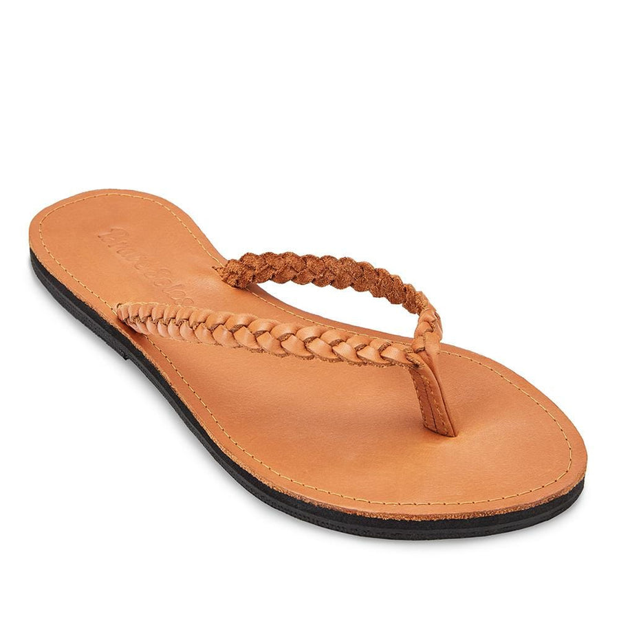 The Trenza Caramel leather flip flop