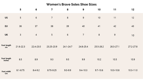 Brave Soles Size Chart for Women