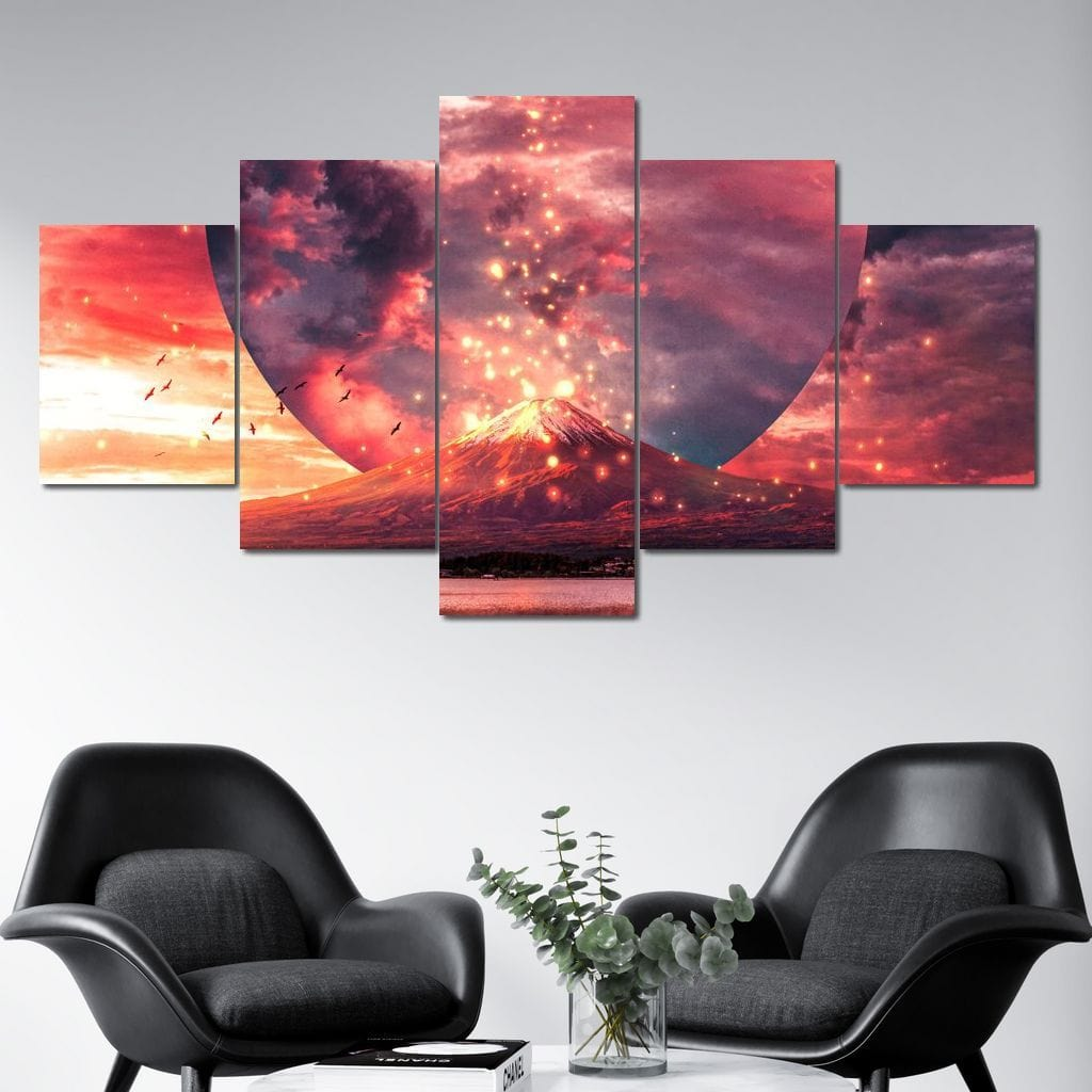 Volcano Fin - Alexgraphex Multi Panel Canvas Wall Art - NicheCanvas