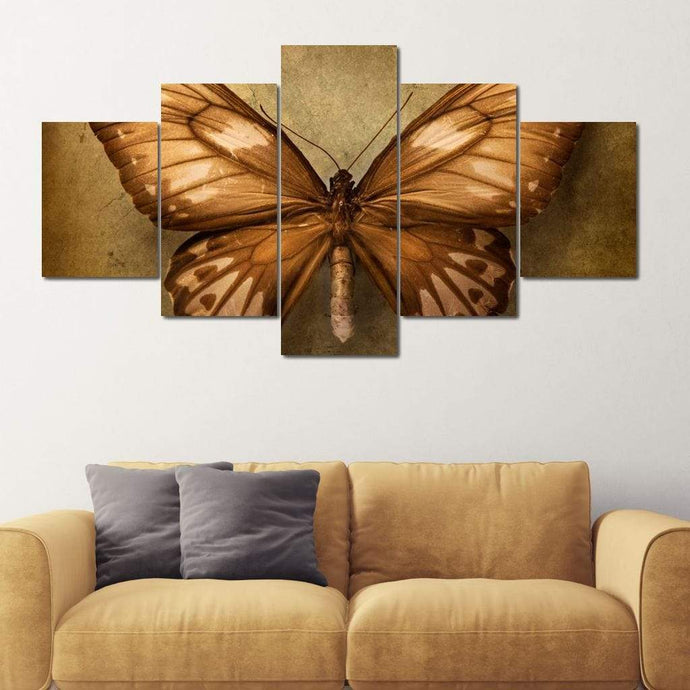 Brown Butterfly Multi Panel Canvas Wall Art - NicheCanvas