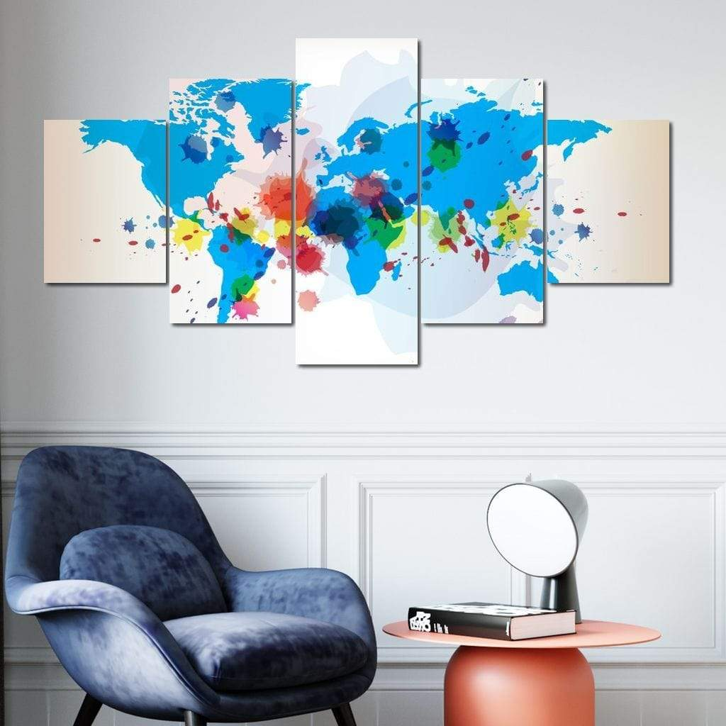 World Map - Watercolor Multi Panel Canvas Wall Art - NicheCanvas