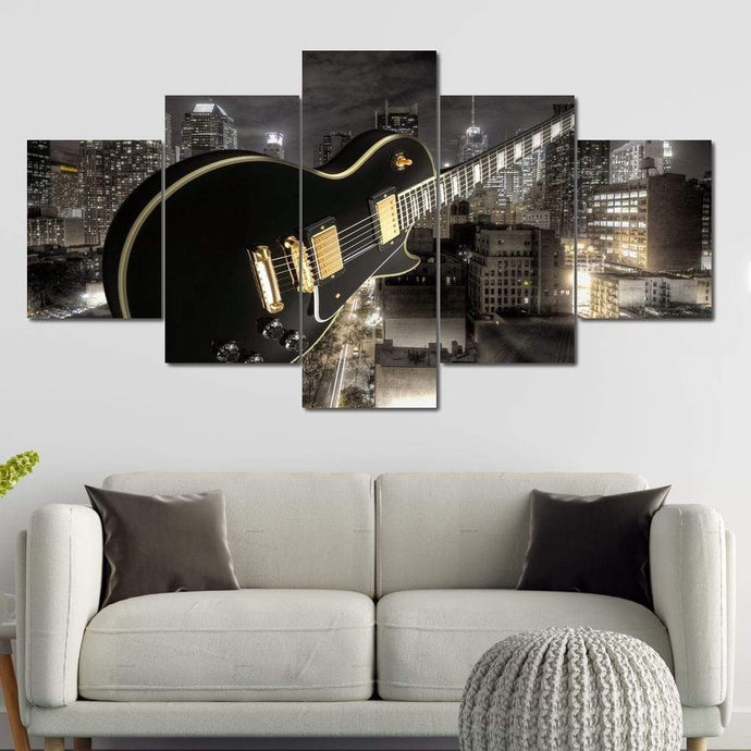 Guitar City Multi Panel Canvas Wall Art - NicheCanvas