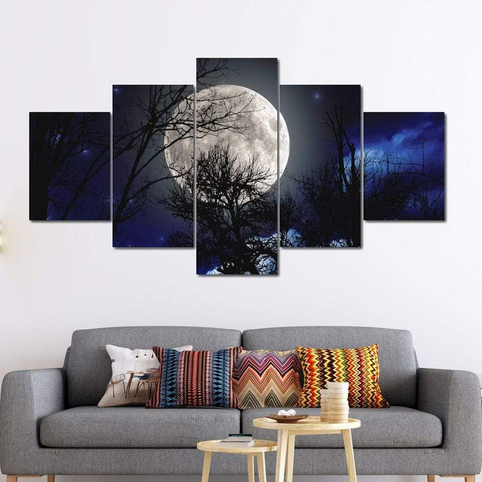 Full Moon Night Multi Panel Canvas Wall Art - NicheCanvas