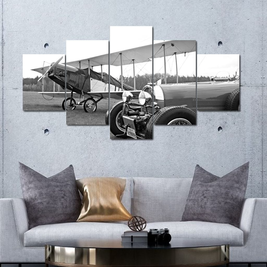 Historic Car and Monoplane Multi Panel Canvas Wall Art - NicheCanvas