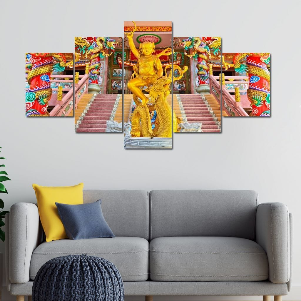 Nāga Statue Multi Panel Canvas Wall Art - NicheCanvas