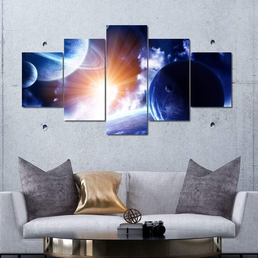 Space Flare Multi Panel Canvas Wall Art - NicheCanvas