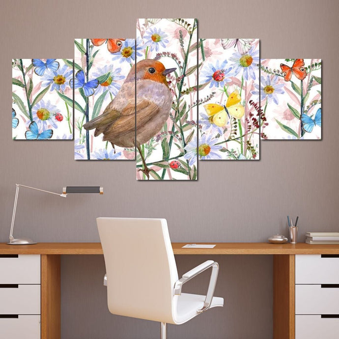 Cute Bird & Butterflies Multi Panel Canvas Wall Art - NicheCanvas