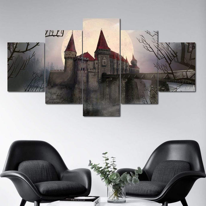 Dark Castle Multi Panel Canvas Wall Art - NicheCanvas