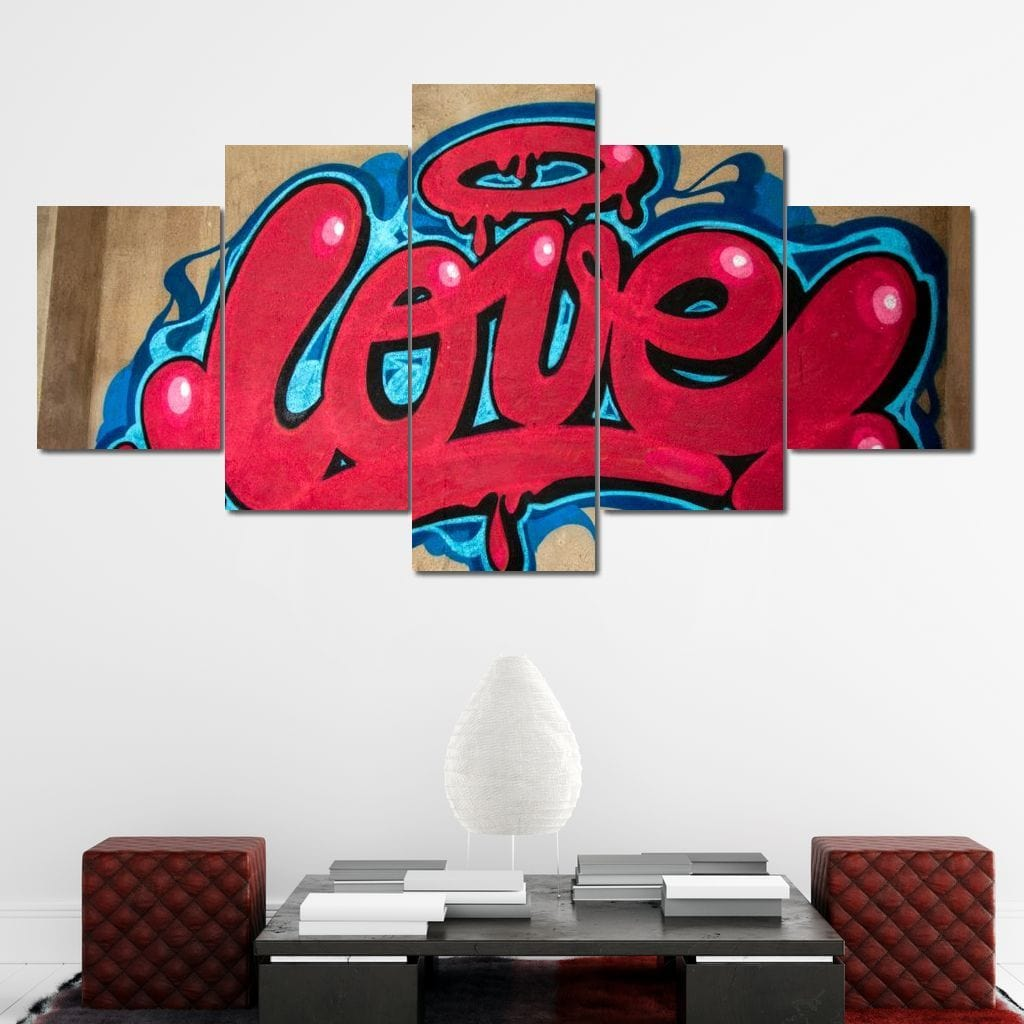 Love Graffiti Multi Panel Canvas Wall Art - NicheCanvas