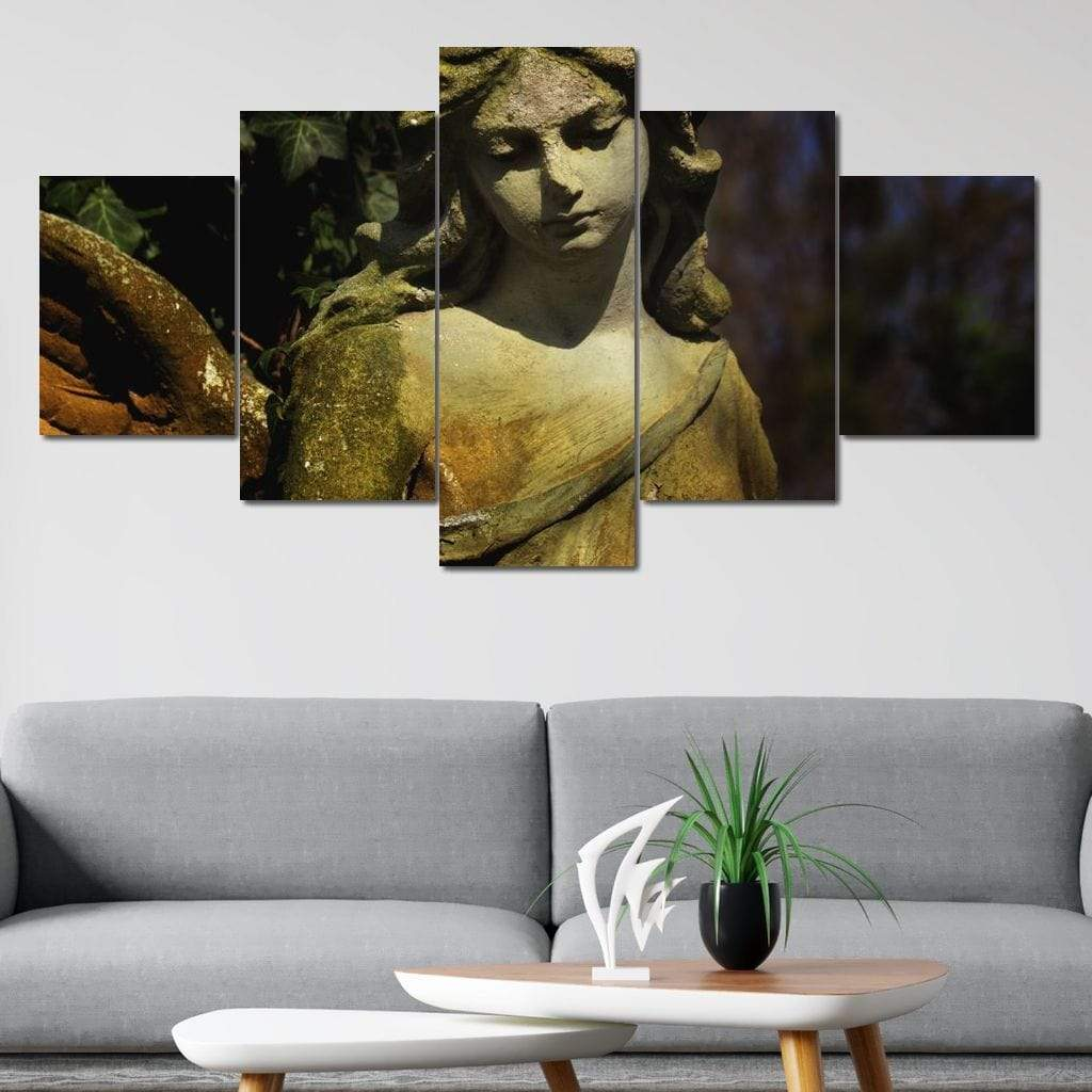 Guardian Angel Statue Multi Panel Canvas Wall Art - NicheCanvas