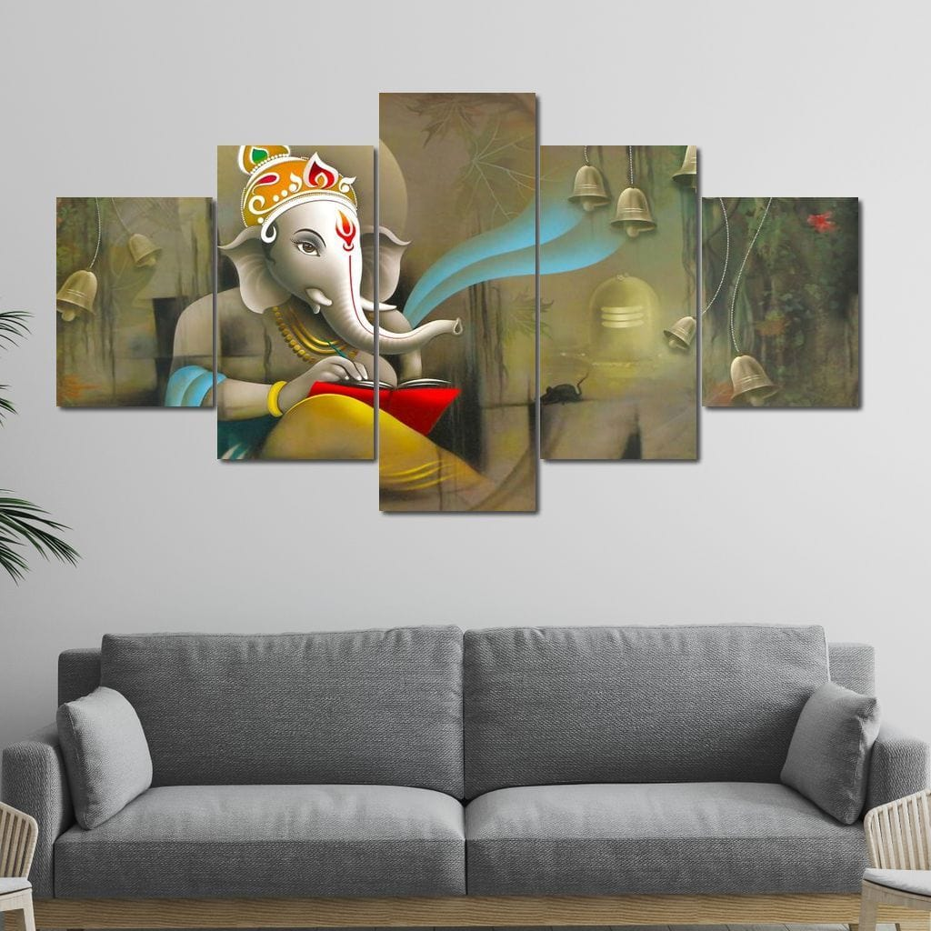 Lord Ganesh Reading Multi Panel Canvas Wall Art - NicheCanvas
