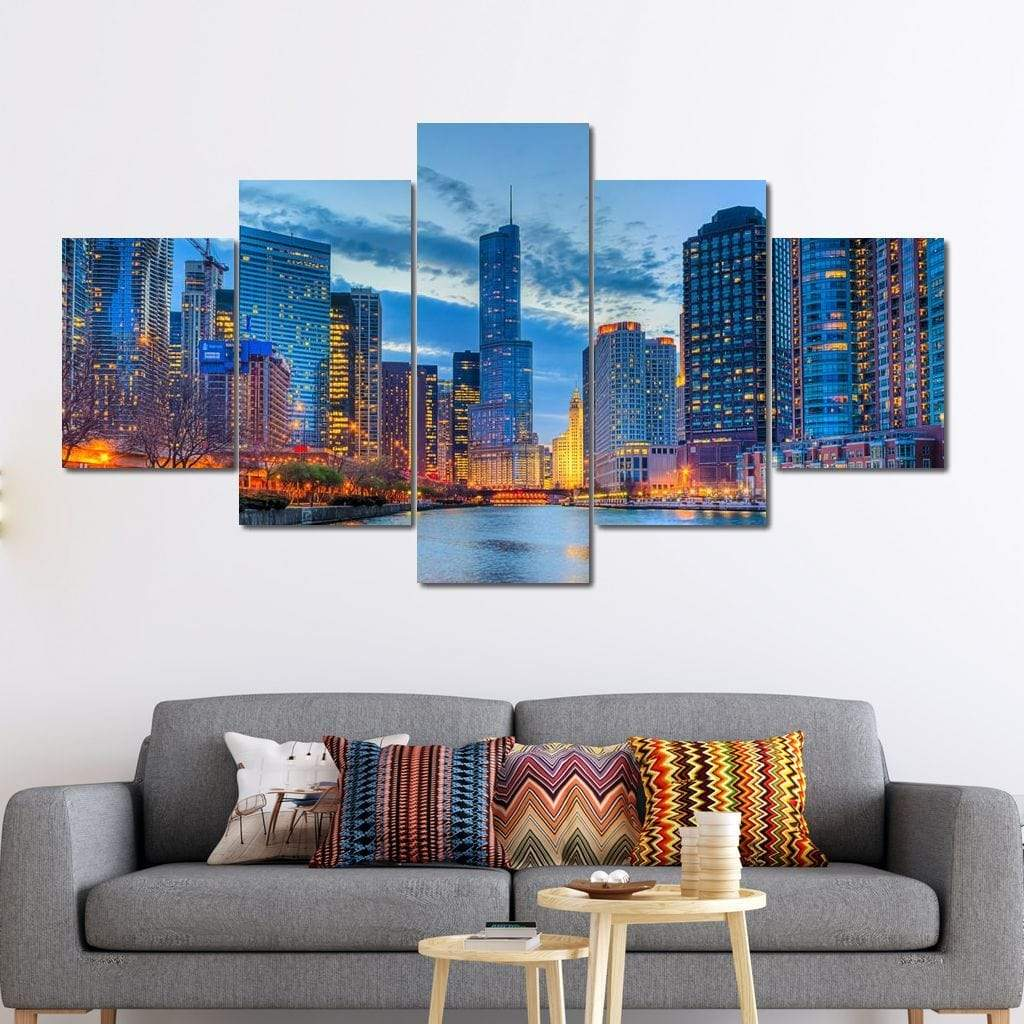 Beautiful Chicago Skyline Multi Panel Canvas Wall Art - NicheCanvas