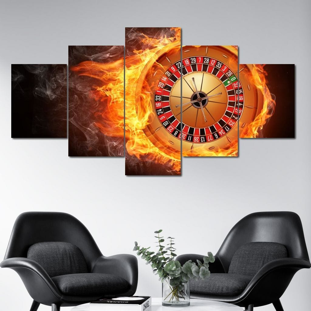 Flaming Roulette Multi Panel Canvas Wall Art - NicheCanvas