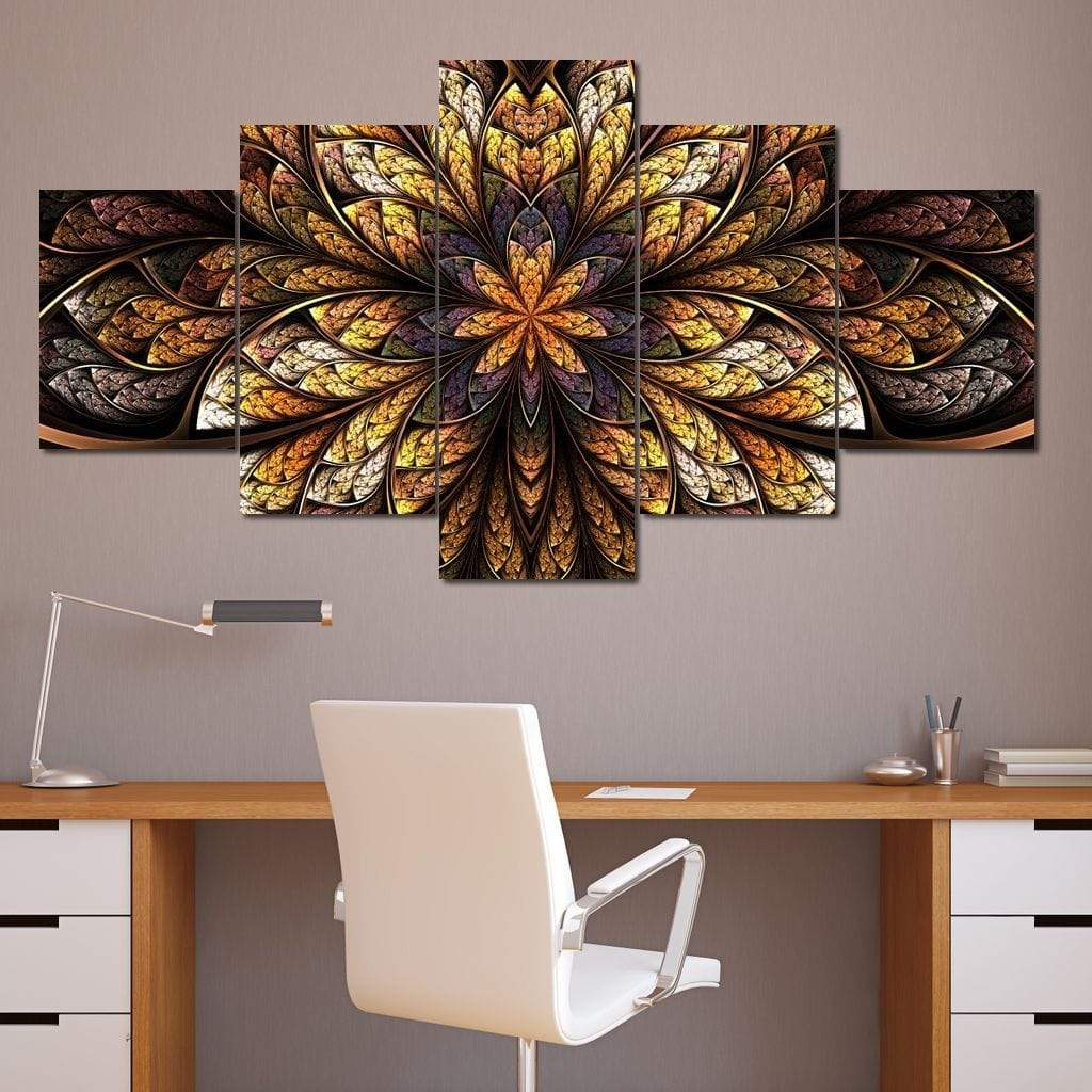 Yellow & Black Fractal Flower Multi Panel Canvas Wall Art - NicheCanvas